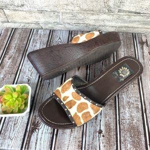 Yellow Box GIraffe Print Calf Hair Leather Sandals